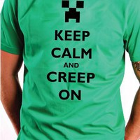 KEEP CALM and CREEP ON Minecraft CREEPER T-Shirt YOUTH MEDIUM