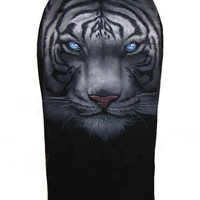 White Tiger Face Printed Pencil Skirt