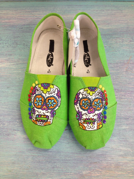 Funky & Colorful Sugar Skull Hand Painted from ...