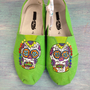 Funky &amp; Colorful Sugar Skull Hand Painted Neon Green Canvas Shoes (Toms Style)/Women Shoes