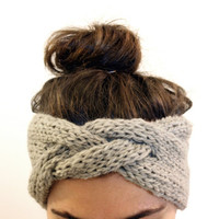 braided headband in smoke grey, hand knit from Peruvian Highland sheep's wool