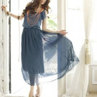 Asian Trendy Pleated Chiffon Ladies Maxi Dresses Blue  : Wholesaleclothing4u.com