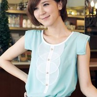 Sweet Round Collar Girls Blouses Blue  : Wholesaleclothing4u.com