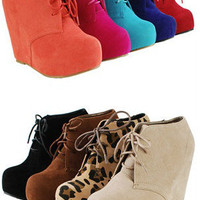 Fashion Ankle Wedge Platform Heel Faux Suede  Glaze Oxford Lace Booties