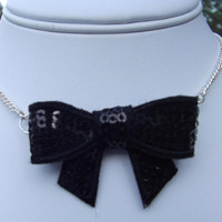 Snazzy Sequin Bow Tie Choker Necklace in Black by LittleGemsbyJax