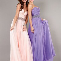 Floor Length Sweetheart Garthered Beaded Waist Belt Prom Dress PD2136