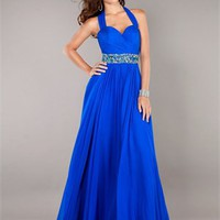 Floor Length Beaded Waist Belt Ruched Bust Prom Dress PD2139