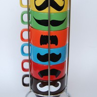 Multi Color Mustache Coffee Mugs set of 6 by lovegracejoy on Etsy