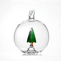 Blown Glass Christmas Ornament, Pine Tree Ball