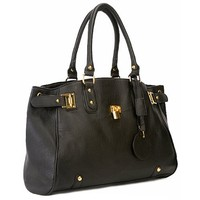 LUCCA Black Glamour Padlock Designer Inspired Shopper Hobo Tote Bag Purse Satchel Handbag w/Shoulder Strap