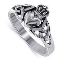 LWRS043-4 Nickel Free Sterling Silver Irish Claddagh Friendship and Love Band Polished Finish Ring Size 4
