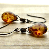 Caramel Glass Earrings, Cream and Chocolate Brown Teardrop Antiqued Brass Earrings - Cappuccino