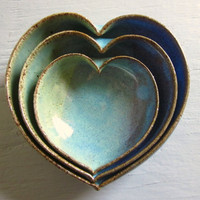 3 nesting ceramic heart bowls -  4 inches handmade - wheel thrown