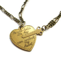Key to Heart Necklace,  Brass Vintage Style Romantic Necklace Set