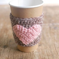 Coffee cup cozy, natural brown with pink heart by The Cozy Project