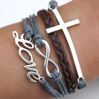 Lovers Bracelet -- Unisex fashion silver 8 infinity wish, LOVE and cross bracelet, brown leather and gray wax rope braided leather bracelet