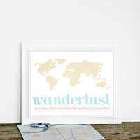 Digital Print Wanderlust - Travel Holiday Vacation Love Wedding Anniversary Art Print Textured Pale Pastel Pink Blue Beige
