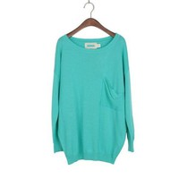 solid color side pockets long sleeved round neck knitted shirt by ClothLess