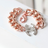 COCO CHANEL Bracelet - Rose Gold Coco Chanel Inspired Double C Bracelet