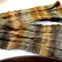 Men Hand Knit Scarf - Men's Long Scarf  - Earthy Brown Green  Scarf  - Custom Made Scarf