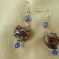Dangling Lampwork Bead Earrings Blue Pink Handmade