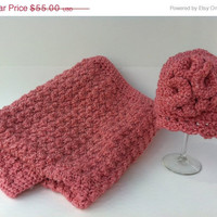 ON SALE Baby Blanket and Matching Hat Rose Pink Baby Girl 3 to 6 Months