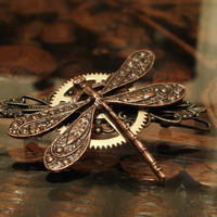 Steampunk Dragonfly Barrette by punqd on Etsy