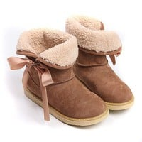 Wholesale Simple Ribbon Bowknot Flat Short Boots Camel www.wholesale-dress.net
