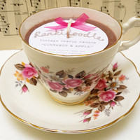 Pretty Pink floral Vintage Teacup candle