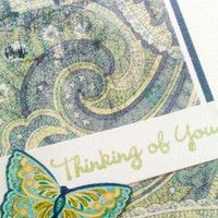 Thinking of You Card Blue, Green Paisley Butterfly