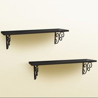 Wall Shelf w/ Metal Hooks-Set of 2 - Black