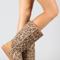 Window-11 Leopard Round Toe Knee High Vegan Boot (8.5)