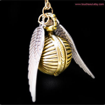 harry potter Enchanted Steampunk Golden snitch with by touchsoul