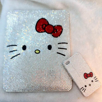 Custom Hello Kitty Swarovski IPAD & IPHONE BLING by Blythaholic