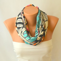 infinity scarf - aztec tribal cotton jersey infinity scarf loop scarf circle scarf winter scarf christmas gifts birthday gifts