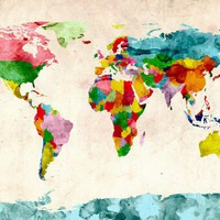 World Map Watercolors Canvas Art Print