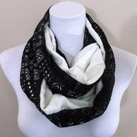 Black and White Lace Infinity scarf, scarves, shawls, spring - fall - winter fashion