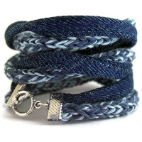 Eco friendly upcycle braceletsmoky blueSky blueVintage by saroug