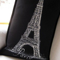Paris France Pillow Eiffel Tower Painting Black by FeatherSisters