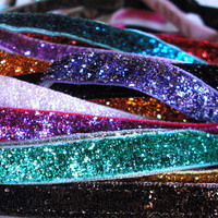 Non-Slip Thin Elastic Glitter Headband for Running or Sports, Great Stocking Stuffer
