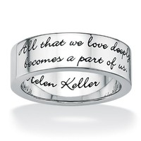 PalmBeach Jewelry Stainless Steel Inspirational Helen Keller Message Band