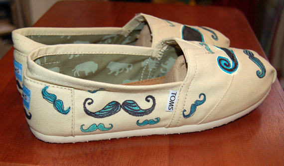 Quirky Mustache TOMS customized in your by PurpleLizardStudio