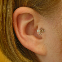 LEFT Silver Tragus Cuff Ear Cuff wire loop swirl by ZyDesigns