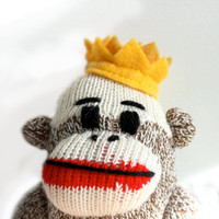 King Sock Monkey Plush - Stocking Stuffer, Crown, Sock Monkey Doll, Stuffed Animal
