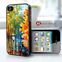 Case for black iphone 4 case iphone 4s case iphone 4 cover colorized painting rain and tree design printing