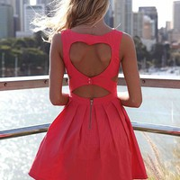 Pink Heart Cutout Dress with Fitted Bodice &amp; Pleated Skirt