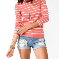 Striped Shoulder Epaulette Sweater
