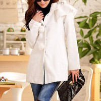 Noble Big Cloak Ladies White Pompons Coats : Wholesaleclothing4u.com