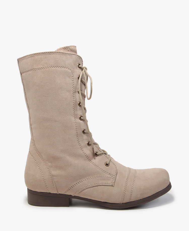 faux suede combat boots from forever 21