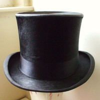 Original Antique English Black Silk/Fur Top Hat made in London Circa 1900 by Hatters Lock & Co